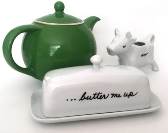 Upcycled Butter Dish Butter Me Up Handpainted