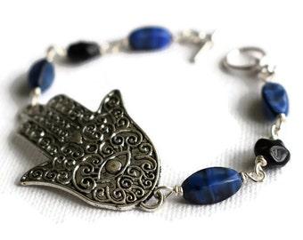Hamsa Hand Bracelet - Hand of Fatima Bracelet - Evil Eye Protection - Spiritual Jewellery -   Hamsa Jewellery - Boho Jewellery