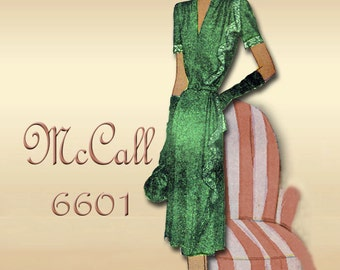 Swing Era Dress 1940s Pattern V Neckline Shirred Shoulders  Cascading Drape on Bodice and Skirt Plus Size Pattern Bust 44 McCall 6601