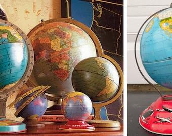 "Ohio Art, World, Globe, 1950'S, Travel, Tin Globe, 6"",World Globe, Vintage, Child's, Litho, Map, Blue, Trains, Trucks, Ship, Air Plane,  Bus"