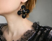 Black lace earrings Big statement earrings Gothic earrings with black crystal Black and Gold Large earrings Gothic jewelry Fancy earrings