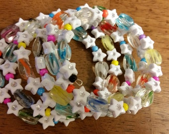 Jordan Bracelet - Beaded Memory Wire Bracelet with White Stars and Colorful Accents