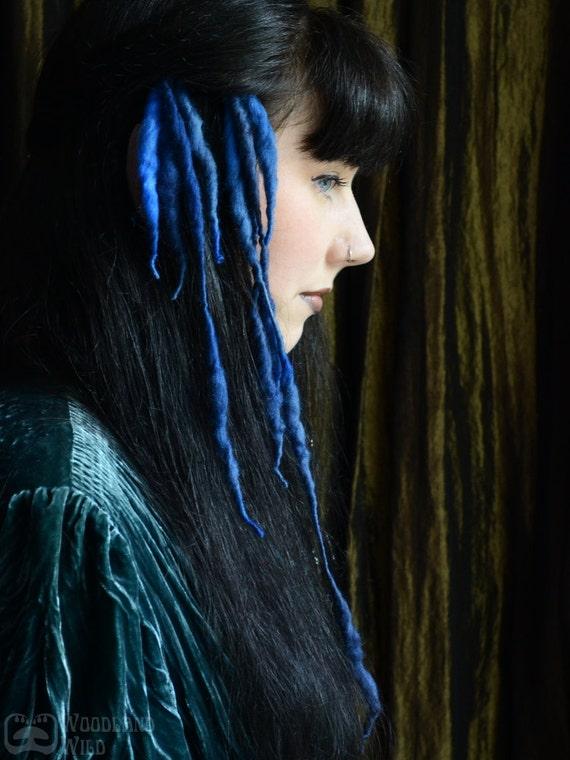 Ellyllon MINI ELFLOCKS Clip-in Dreads Dreadlocks in Blue/Black for Cosplay, LARP, Tribal Dance, Festivals, Alt Fashion, Goth, Performance