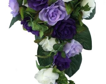 Purple, Lavender And Ivory Silk Rose Cascade - Bridal Wedding Bouquet