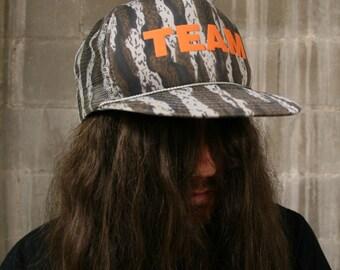 Vintage Deadstock 1980s Camouflage TEAM Trucker Hat Snapback