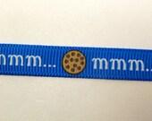 "3/8"" mmm cookie print on electric blue Grosgrain Ribbon- 5 yards- custom hard to find"