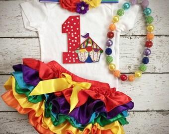 First Birthday/Circus Tent/Under the big tent/Carnival birthday/Ruffle Bloomer/CakeSmash/PhotoProp/Rainbow Birthday/All Around bloomer
