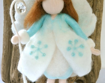 Waldorf inspired  needle felted doll:  Winter Fairy