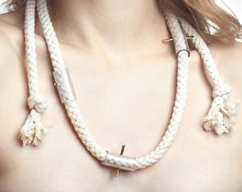 necklace A - rope, brass and pvc - minimalist rope necklace
