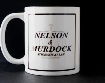 Nelson and Murdock, Daredevil cup, Charlie Cox, Matt Murdoch, Foggy Nelson, Daredevil Gift, Hand Crafted,  Printed Cup