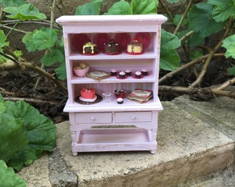 Shabby Chic/French/Cottage Pink Bakery Hutch w Cupcakes - Dollhouse Miniature