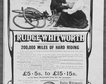 Rudge Whitworth, 1905, vintage, ad, original, bicycles, cycling, English,advertisement, free shipping, paper, ephemera