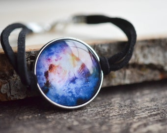Galaxy Print Bracelet, Nebula Bracelet, Space Jewelry, Planetarium Jewelry, Science Jewelry, Nerdy Bracelet, Gypsy Jewelry, Galaxy Jewelry
