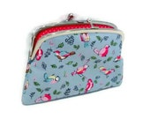 Bird purse, Kiss lock wallet with pretty British birds, coin purse with 2 compartments and divider