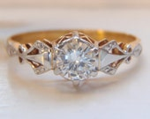 Vintage 18K Yellow Gold & Platinum Diamond Engagement Ring. Highly unique and so very pretty. Just gorgeous!