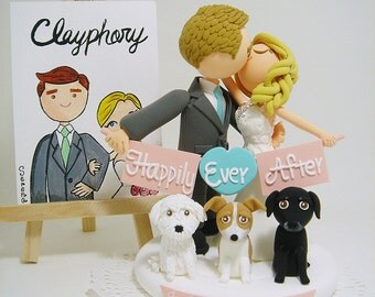 Romantic couple with 3 dogs Custom wedding cake topper