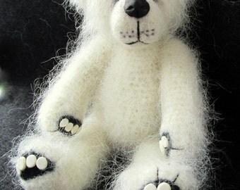 Claude, a one of a kind crochet artist bear