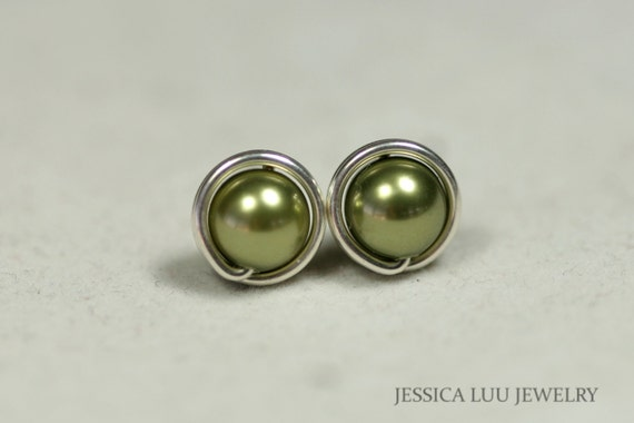 Green Pearl Stud Earrings Wire Wrapped Jewelry Handmade Sterling Silver Jewelry Handmade Olive Green Stud Earrings Green Pearl Earrings