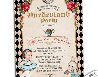 Onederland Birthday invitation. Wonderland birthday invitation. Alice birthday invitation.  Wonderland invitation. printable or printed.