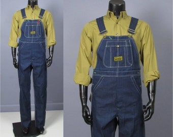 Denim Overalls -- Mens Vintage 1960s Washington Dee Cee Deadstock Button Fly Overalls -- NOS NWT 27-34