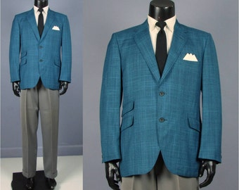 Plaid Sport Coat -- Mens' Vintage Late 1960s Teal Blue Paid Jacket -- Mens Size 38/39