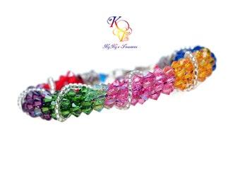Rainbow Bracelet, Multi Color Bracelet, Colorful Bracelet, Rainbow Crystal Bracelet, Colorful Jewelry, Rainbow Jewelry, Kumihimo Bracelet