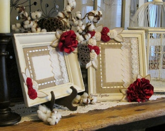 red ivory wedding decor red ivory frames distressed frames christmas wedding - Wedding Picture Frames