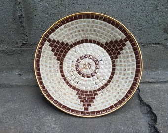 60's Mid Century Mosaic Bowl Brown and White with Gold
