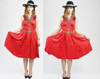 1950s Pinup Red and Black Polka Dot Halter Circle Skirt Dress