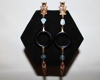 1960s Egyptian Revival Moonstone Pharaoh Earrings