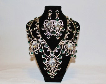 1950s Husar D Czech Glass Emerald Green Rhinestone Necklace Earring Set