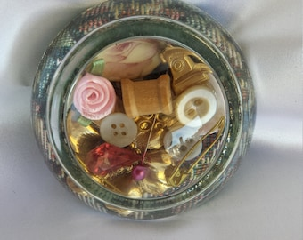 Paperweight with a sewing room decor
