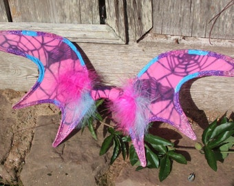 Pink and blue bat fairy wings