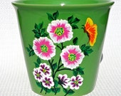 Hand Painted Green Flowerpot With Flowers And A Butterfly, Hand Painted Flowerpot, Home Decor, Mothers Day Gift, Garden Decor