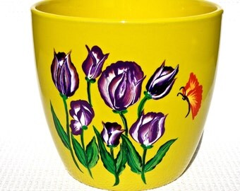 Flowerpot Hand Painted Yellow With Purple Tulips and A Red Butterfly, Housewarming Gift, Teacher Gift, Home Decor, Garden Decor, Home Decor
