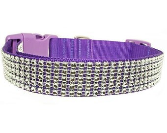 "Rhinestone 1"" Silver Sparkle Bling Purple Dog Collar"