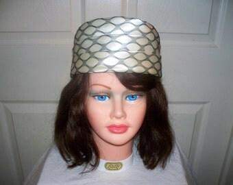 1960s White Satin Pillbox Hat  - Excellent Condition - Black Mesh - Unmarked