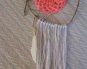 mini hand made dream catcher, bright peach / pink detail, white feather