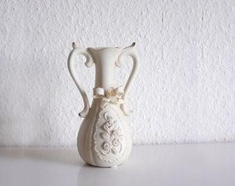 70s Victorian Ceramic Vase Cream White Golder Edges Floral Motif Vintage Art Pottery Vase German Germany