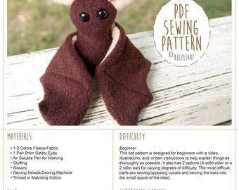 Beginner Bat Sewing Pattern, Stuffed Animal Pattern, Bat Plush Tutorial, PDF Pattern