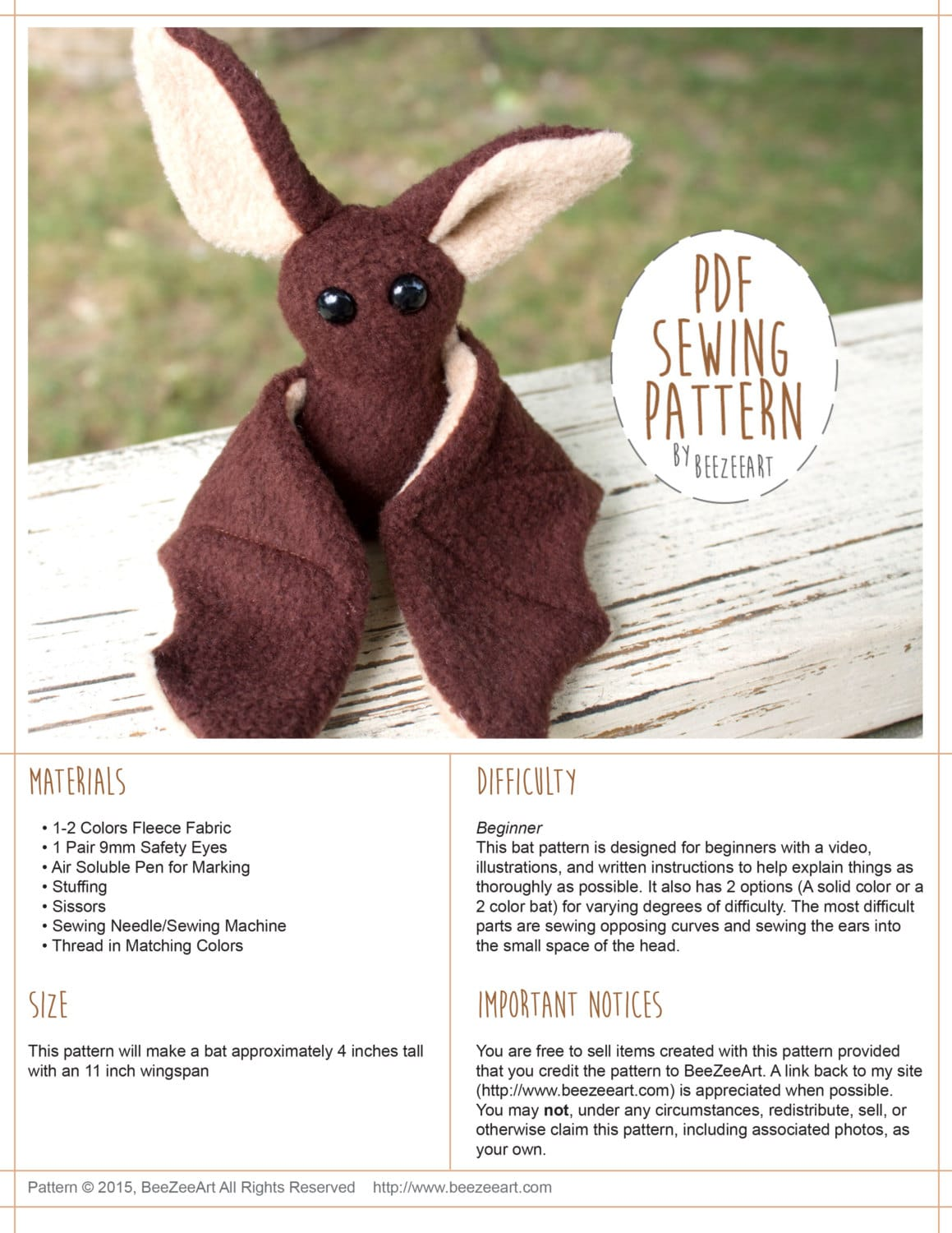 Beginner bat sewing pattern stuffed animal pattern bat plush for Sewing templates for stuffed animals