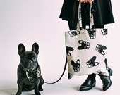 French Bulldog Pattern tote bag / Frenchie Design / Boston Terrier Pattern Cotton Shopping Bag