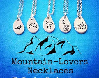 Mountain Necklace, Mountain Jewelry, Handstamped, Tiny Pendant, Mountain-Lovers, Bird Necklace, Deer Necklace, Owl Necklace, Bicyclist