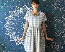 90s vintage tent pastel plaid babydoll dress// 90s cotton grunge dress// small medium