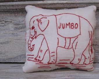 Jumbo Elephant Embroidery Pillow With Quilt Backing