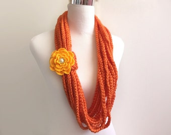 Orange hand crochet chain Infinity scarf with removable crochet flower - gift or for you
