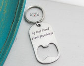 Bottle Opener Keychain | Personalized Bottle Opener | Custom Gift | Hand Stamped Accessory | Personalized Gift | Wedding | Gifts for HIm