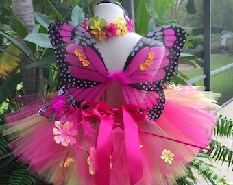 THE CARSEN 3-pc Woodland Fairy Tutu Set, Fairy Princess, Forest Tutu, Butterfly wings,  Tiara, Toddler fairy costume, tutu wing set