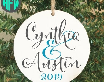 Our First Christmas Ornament, Personalized Ornament, Couples Gift, Wedding Gift, Newlywed Gift, Mr and Mrs Ornament, Wedding Ornament