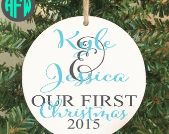 Our First Christmas Ornament, Personalized Ornament, Couples Gift, Wedding Gift, Newlywed, Mr and Mrs, Wedding Ornament, 1st Christmas
